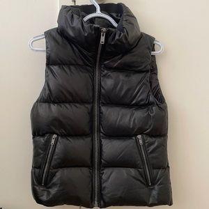 Black leather zip-up vest